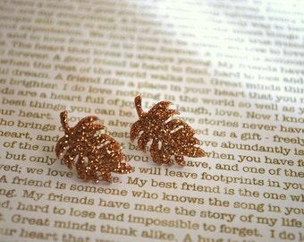 Leaf Studs -- Gold Leaf Earrings, Gold Leaf Studs, Glittery Leaves