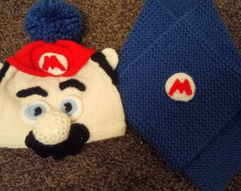 Boys Hand-knitted mario inspired hat and scarf set.