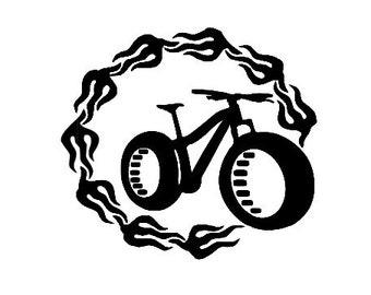 Flaming Fat Bike Vinyl Decal Sticker - mountain biking - for car, truck, wall, computer, laptop, macbook, bumper sticker