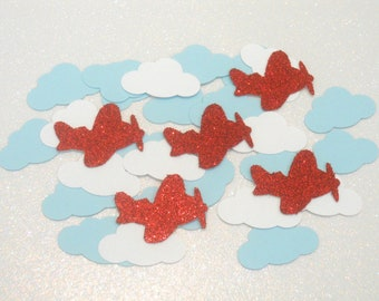 200 Airplane Decorations, Time Flies Party Decor, Airplane Confetti, Time Flies Confetti, Vintage Airplane Birthday, Cloud Confetti,