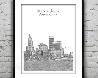 Providence RI Wedding Gift Guest Book Guestbook Poster Print -City Skyline Rhode Island RI V2