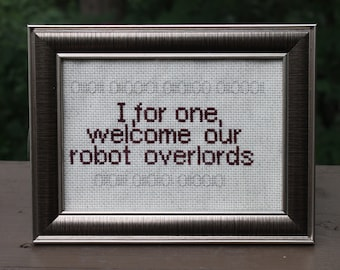 Robot Overlords Cross Stitch