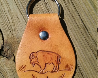 Buffalo in Pasture Leather Key Chain
