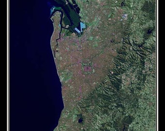 Adelaide South Australia Satellite Poster Map