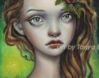 Fern Flower - 5x7 print of an oil painting by Tanya Bond - surreal pop - big eyed fantasy art slavic legend