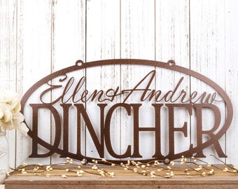 Family Name Metal Sign | Last Name Sign | Custom Sign | Personalized Sign | Metal Wall Art | Outdoor Sign | Name Sign