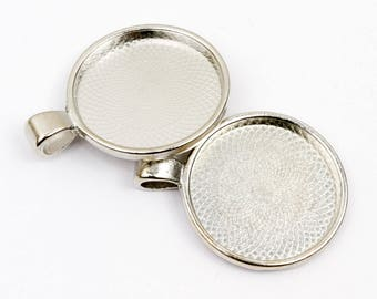 5 Silver round pendants 28mm cabochon