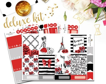 BONJOUR  Deluxe Kit Planner Stickers for use with Erin Condren Life Planner/Planner Sticker Kit/Fall Planner Sticker Set/Paris