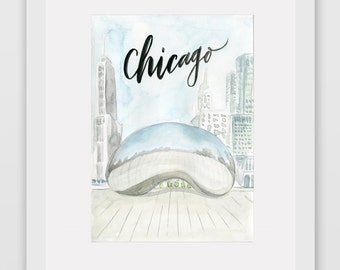 Around the World Watercolor Print - Chicago