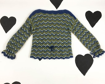 70's zig zag blue green striped knit mohair sweater 1970's drawstring tie fluffy olive chevron scalloped warm cozy pullover sweater XS S M