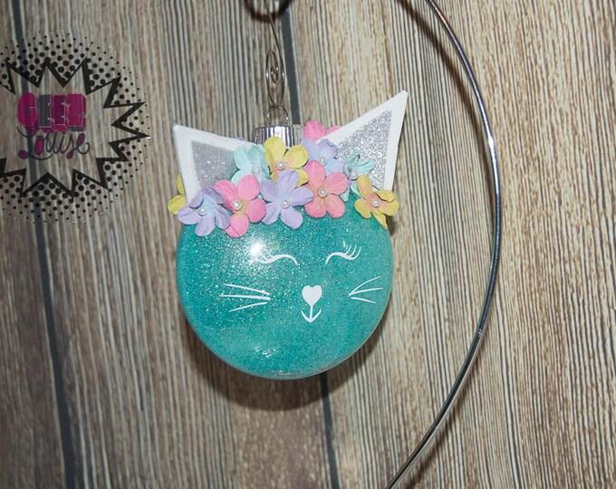 Cat Kitty Glitter Personalized Ornament Handmade Plastic Disc Christmas Holidays Xmas Festive Decor Tree Kitten