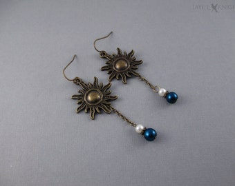 Tangled Sun Charm Earrings - Rapunzel - Bronze Charms