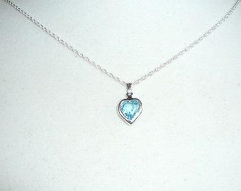 Tiny Heart Necklace, March Birthstone necklace, Swarovski aquamarine crystal