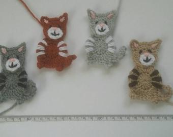 1 handmade crochet cat applique/embellishment choice of colours