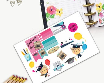 Graduation Theme One Day Small Planner Sticker Set, All Happy Planner Stickers, Stickers, Printed, Cut, Functional Sticker, School, College
