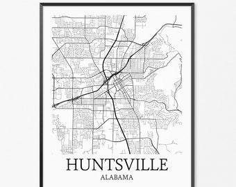 Huntsville Map Art Print, Huntsville Poster Map of Huntsville Decor, Huntsville City Map Art, Huntsville Gift, Huntsville Alabama Art Poster
