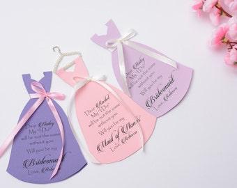 Be my Bridesmaid Blush Bridesmaid Proposal Will You be my Bridesmaid Card in Dress Shape Bridesmaid Gift