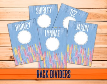 "SaLe! Blue Clothing Rack Dividers! 4x6"" Print Ready - hanger tags; clothing dividers - INSTANT DOWNLOAD"