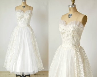 SALE /// 1950s Tea Length Wedding Dress --- Vintage Lace Wedding Dress