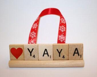 Custom Christmas Ornaments, Love Yaya, I love you, Scrabble Ornament, Christmas Ornament, Papa, Gram, uncle, grandma, grandpa, Nana, Mimi