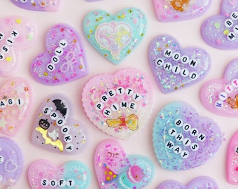 Custom Resin Heart Jewellery, Necklaces, Keychains, Chokers, Charms, Brooches, Personalised, Kawaii, Pastel, Fairy Kei, J Fashion