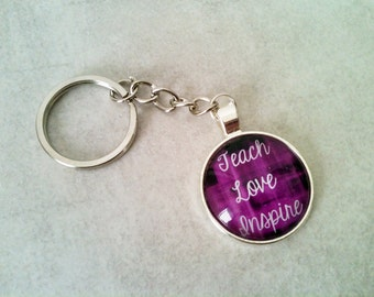 Teacher keychain, teacher gift, teacher key ring, teach love inspire, teacher gift idea, gift idea under 10