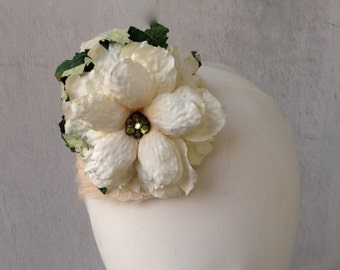 Girls Fascinator--Headpiece--Easter--Weddings--Special Occasions--Off White