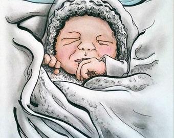 Graphic Art Style Portraits, Baby Portrait, Illustration, Showing a 5x7 Gift Idea, Custom Drawing, Custom Portrait