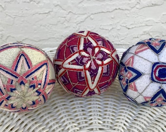 Temari ball Japanese embroidery home decor traditional art handmade sphere ball ornament unique gift Mother's day Pick one