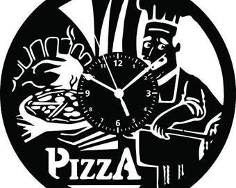 Vinyl disc Wall Clock LP 33 rpm-pizza restaurant PIZZERIA