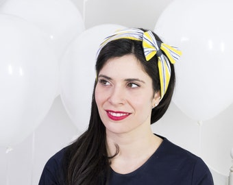 Wide headband for women, easy-on style – Reversible headband - Yellow head wrap –Denim vintage headband –Turban headband –Pinup head scarf