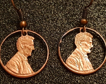 Abraham Lincoln Cut Coin American Penny Earrings