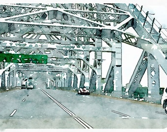 Watercolor Print - Story Bridge Brisbane, - Cityscape