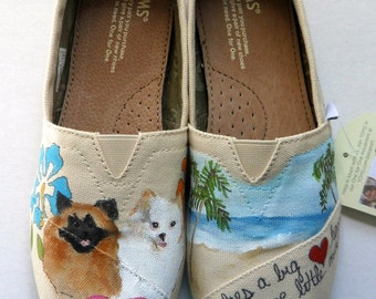 Bride's Love Story Wedding Shoes, Custom Hand Painted Shoes, Unique Wedding Shoes, Custom TOMS, Wedding Flats, Painted Wedding Shoes