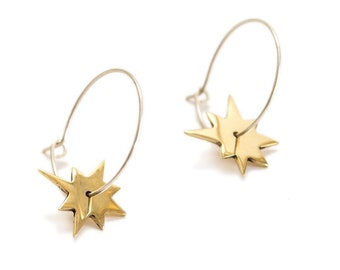 Recycled Brass & Silver Hoop Earrings with Star Charms