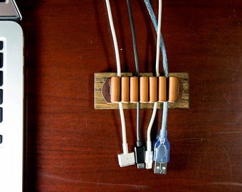 Wire Organizer / Cable Holder / Cord holder / Table Cable Organizer / Wooden Wire Manager / Leather Cord Holder