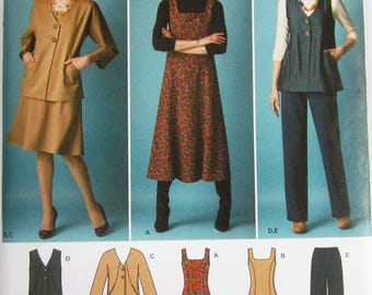 Misses Jumper in Two Lengths, Pants and Jacket or Vest Sizes 10 12 14 16 18 Simplicity Pattern 2539 UNCUT