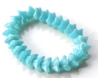 Sky Blue Turquoise Small Trumpet Flower Beads   25