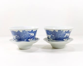 Vintage Pair Set of Two Blue and White Chinese Porcelain Rice Bowls, Blue and White Bowls, Rice Bowls with Saucers, Cottage Country Style