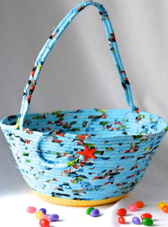 Boy Easter Basket, Handmade Easter Bucket, Baby Boy First Basket, Boy Easter Egg Hunt Bucket, Blue Coiled Fabric Basket