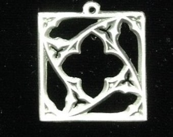 Pierced Square Gothic-style Window Pendant - Lead-free Pewter
