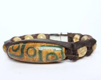 Citrine stone bracelet Dzi beads