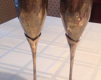 Silver champagne flute pair