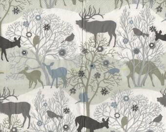 3285 lot 3 deer and deer paper napkins in sepia landscape