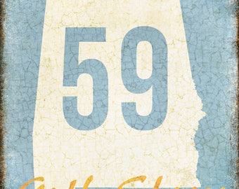 "Hwy 59 // Gulf Shores, Alabama  // Metal Sign // 12"" x 16"""