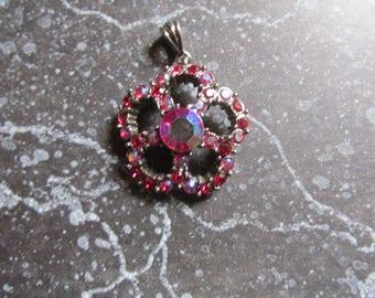 Red Rhinestone Sparkling Pendant Silver Tone Retro Jewelry