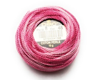 DMC Perle Cotton Thread Size 8 Variegated Baby Pink 48