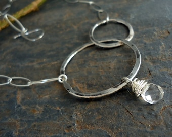 Sterling Silver Organic Circles Necklace and Faceted Teardrop Quartz
