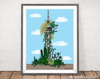 Toronto CN Tower Plant Decor Print