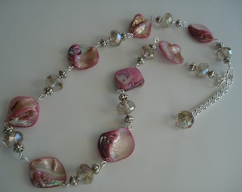 Pink Necklace, Crystal Necklace, Shell Necklace, Wire Wrapped, Silver Tone, Handmade by Lululily Jewelry